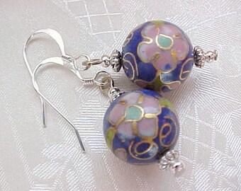 Vintage Cloisonne Earrings Cobalt Blue Cloisonne Flower Earrings Easter Earrings Spring Earrings Gifts for Women Birthday Gifts Handmade