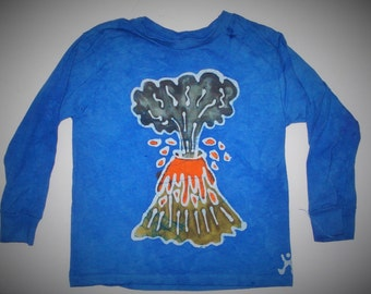 Kids Handmade Batik Volcano erupting T-shirt