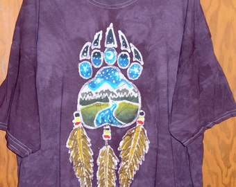 Adult One of a kind Batik Bear Paw with Feathers t-shirt