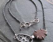 Silver Beach Stone Short Necklace Sparkling Hematite  Choker Statement