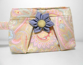 Pleated Wristlet, Pastel Paisley Wristlet with Flower Kanzashi Brooch