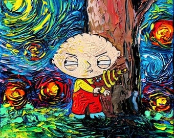 Family Guy Art CANVAS print Starry Night Stewie Cartoon van Gogh Never Saw Quahog Aja 8x8 10x10 12x12 16x16 20x20 24x24 30x30 choose size