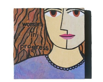 50% OFF SALE - Strong Woman ART, Woman in Progress, Female Portrait - Purple Woman Art, Mixed Media Collage Art, Inspirational Art, wall art