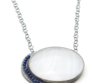 Antique Glass Cabochon and Lapis Bead Sterling Necklace