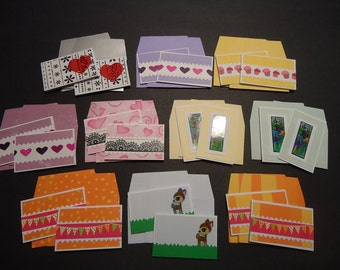 20 mixed mini cards with envelopes, mini notecards, shop thank you cards, mixed lot cards, assorted shop notecards, tiny notecards, lot C