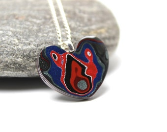 Detroit Fordite Necklace Swirled Recycled Vintage Auto Paint Jewelry Red White & Blue Love Heart Medallion Sterling Silver USA Retro Mod xo