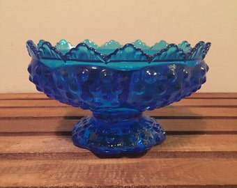 Vintage fenton blue hobnail candle holder