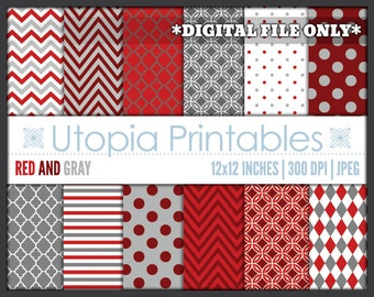 Red And Gray Digital Paper Pack Set Polkadot Chevron Striped Digiscrap Background Pattern Design White Grey Maroon Printable Commercial Use