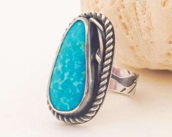 Morenci Turquoise Ring, Size 8 Large Sterling Silver Ring Artisan Egret Bird Ring Wide Band Ring, Silversmith Boho Chic Statement Ring