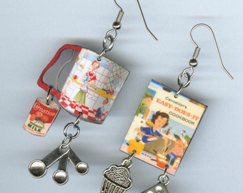 Cookbook Earrings - Vintage flour sifter Cupcakes evaporated milk Bakers chef cooks gift  Asymmetrical mismatched earring Designs by Annette