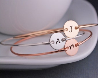 Mixed Metal Jewelry, THREE Custom Initial Bracelets,  Mixed Metal Bangle Bracelets Rose Gold, Silver Gold and Rose Gold Set