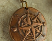 Compass Rose Wax Seal Charm Pendant, Copper, Nautical Jewelry, Sea, Direction, Compass Jewelry