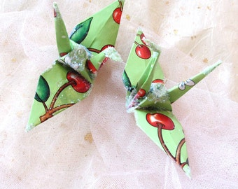 Merry Cherry Green Peace Crane Bird,  Wedding Cake Topper,  Party Favor Origami Christmas Ornament Japanese Paper Anniversary Table Decor