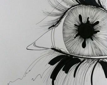 Black and white,Original Art,Eyes,Inks,Modern art,Illustration,Lillienne Lang,Expression,Modern sketch,Art,Gift,Woman,Men,Eye,See,Zen