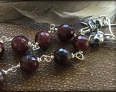 True Blood Skull and Faceted Garnet Earrings