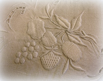 "heavily embroidered vintage table topper 33"" x 33"" monochromatic linen whitework embroidery and cutwork embroidered by hand hand embroidery"