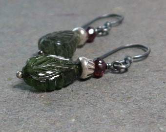 Tourmaline Earrings Carved Leaf Earrings Pink and Green Tourmaline Oxidized Sterling Silver Earrings Gift for Her