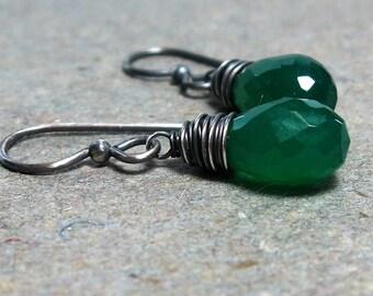 Green Onyx Earrings Wire Wrapped Earrings Briolette Earrings Oxidized Sterling Silver Earrings Minimalist Earrings