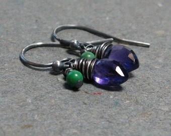 Purple Amethyst Earrings Turquoise Earrings Petite Earrings February Birthstone Earrings Oxidized Sterling Silver Earrings