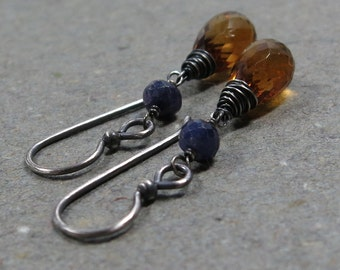Madeira Citrine Earrings Sapphire Earrings November, September Birthstone Earrings Oxidized Sterling Silver Earrings Dangle Earrings