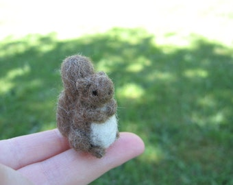 Needle Felted Brown Squirrel Tiny Miniature Figure