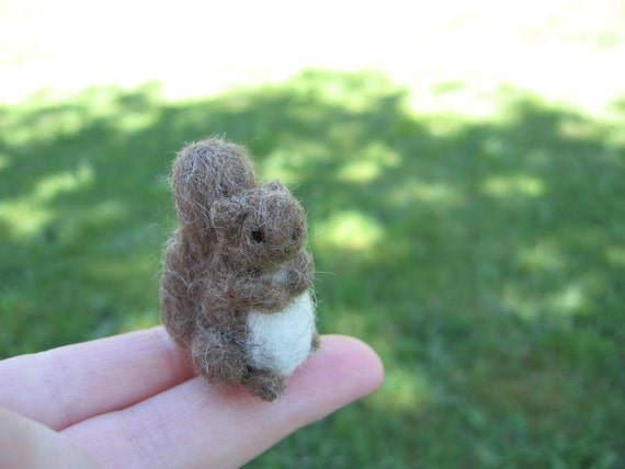 Needle Felted Squirrel Tiny Miniature Figure Brown Squirrel