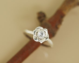 Rose on Branch, Twig Ring, Sapphire Rose Ring, alternative engagement ring