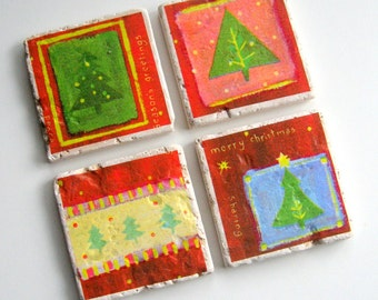 Tumbled Stone Earth Coasters - Holiday Trees - art papers, holiday, Christmas, trees, evergreen, pine tree, tiles, home decor, natural, gift