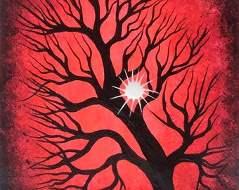 TREE art, Original Acrylic painting, RED tree, Sun, Tree painting by Jordanka Yaretz