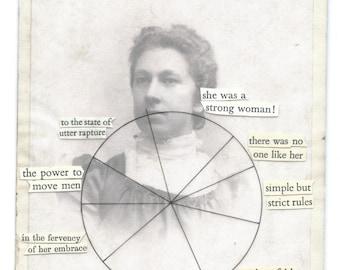 Funny vintage portrait piechart poem | Original fine art collage over photograph on board