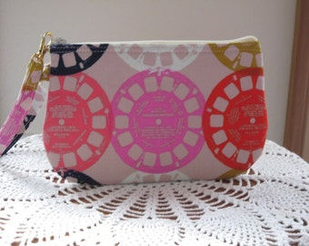 Smart phone View-Master Reels in Pink Case Gadget Pouch Clutch Wristlet Zipper Gadget Pouch