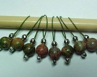 Unakite Gemstone Stitch Markers - US 10 -  Item No. 449