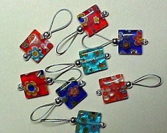 Red, Blue, Turquoise and Orange Millefiori Bead Stitch Markers - US 10 - Item No. 535