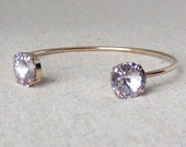 Swarovski Crystal Cuff Bracelet, Mauve Open Cuff Bracelet, Adjustable Rose Gold Bracelet, Bridesmaids Ask Gifts, 14k Gold Plated Bangle