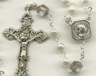 June Birthstone Rosary ~ Alexandrite & Pearl Glass