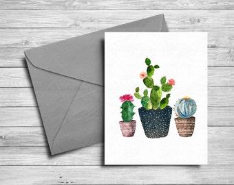 Cactus Printable card, Hand painted, watercolor cacti card, Printable greeting card, botanical, 5x7 printable card, watercolor cacti, cactus