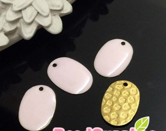 CH-EX-08062PP- Raw brass,Oval (textured) charm, pale pink, 6 pcs