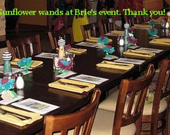 "25  4.5"" open tissue paper daisy flower wand favors place cards gerbera sunflower daisy poppy personalized"