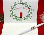 Blessed Yule, Green wreath, red candle - set of 10 cards with envelopes