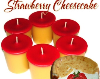 6 Strawberry Cheesecake Votive Candles Bakery Berry Fruit Scent