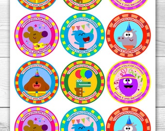 Hey Duggee - 12 personalised Digital Stickers - Printable treat bag - Thank you favour 2.55 inch