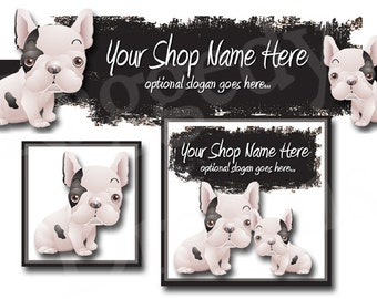 Premade Etsy Cover Photo - Large Etsy Banner - Premade Etsy Shop Banner - SHOP ICON - Shop Profile - Cute Puppy Dogs - French Bulldog
