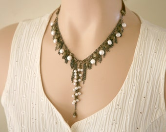 Antiqued Brass Cascading Necklace, Dangling Chain Necklace, Dangling Pearls, Leaf Necklace, Dangling Chains, Mother's Day, Pearl Necklace