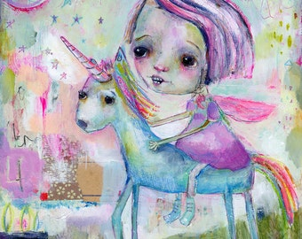 Create my Own Magic - mixed media art print by Mindy Lacefield