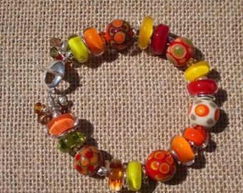 Blaze-Handmade Lampwork and Sterling Silver Bracelet