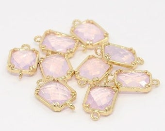 Sale Top Quality 2pcs Pink Glass Polished Real Gold Plated Brass Links GLAA
