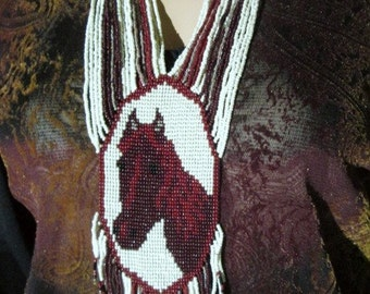 Horse Beaded Necklace with Earrings Equestrian Necklace Beadwork Bead Art Horses Shades of Brown Beige