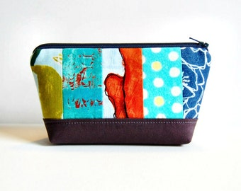 Small Patchwork Zipper Pouch, Cosmetic Case, Makeup Bag, Toiletry Storage, Laura Gunn