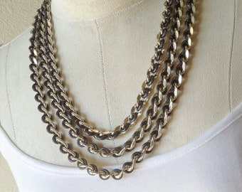 Vintage Sarah Coventry 3 Strand Chain Necklace, Multi Strand Necklace, Metal and Lucite, Silver and Steel Grey, Chunky Tough and Bold