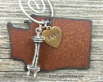 WASHINGTON State   Rustic 2016 Christmas Ornament   Apple or Space Needle Charms, Hand Stamped Brass Tag   FREE SHIPPING